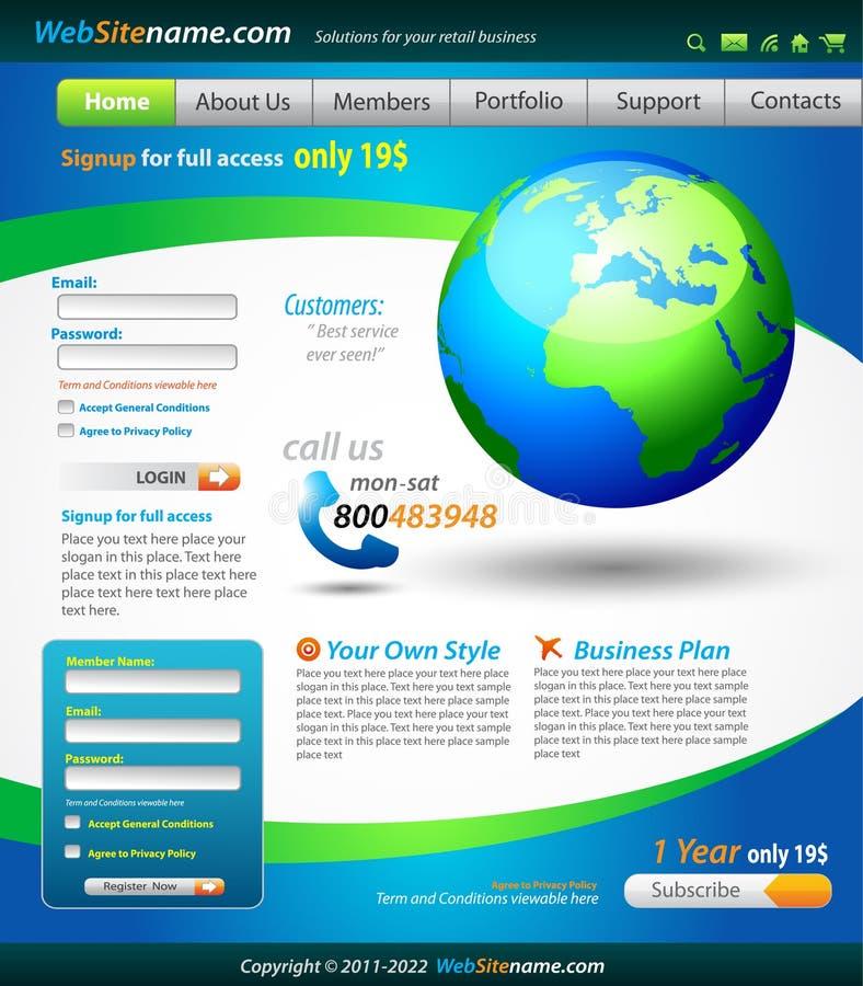 Modelo del Web site de las soluciones del asunto stock de ilustración