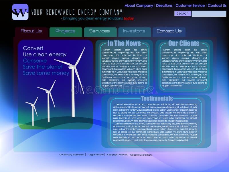 Modelo del Web site para la energía renovable libre illustration