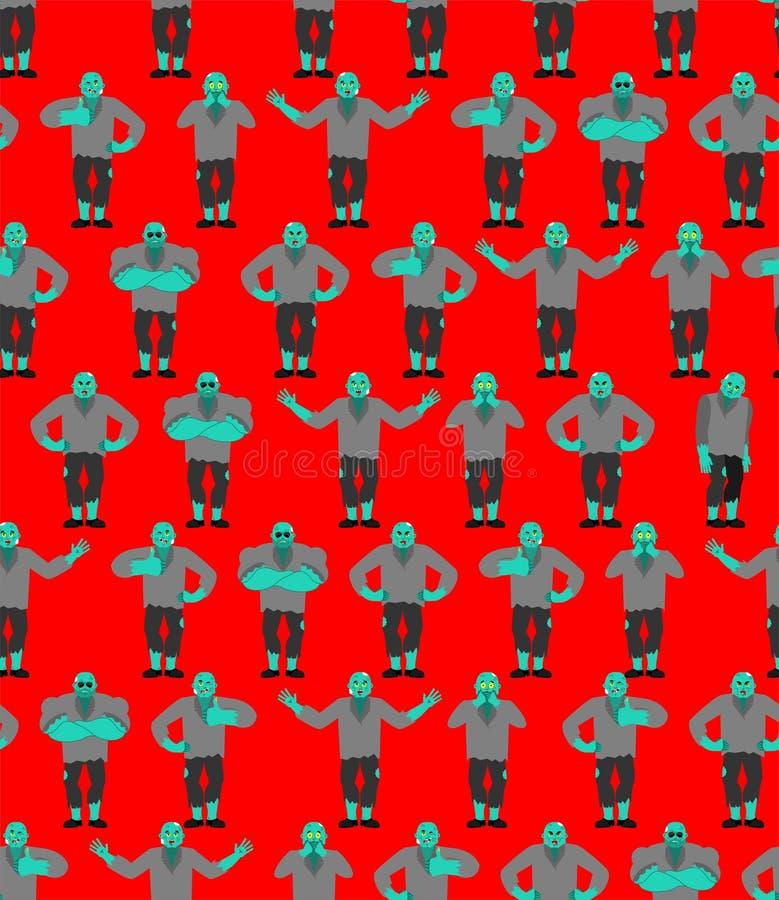 Modelo del zombi inconsútil Fondo de los zombis Textura de los Undead stock de ilustración