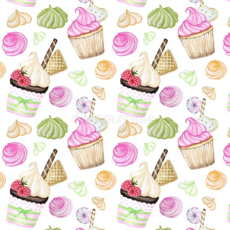 Modelo delicioso dulce colorido brillante de la acuarela con las magdalenas Ejemplo dibujado mano de la acuarela libre illustration