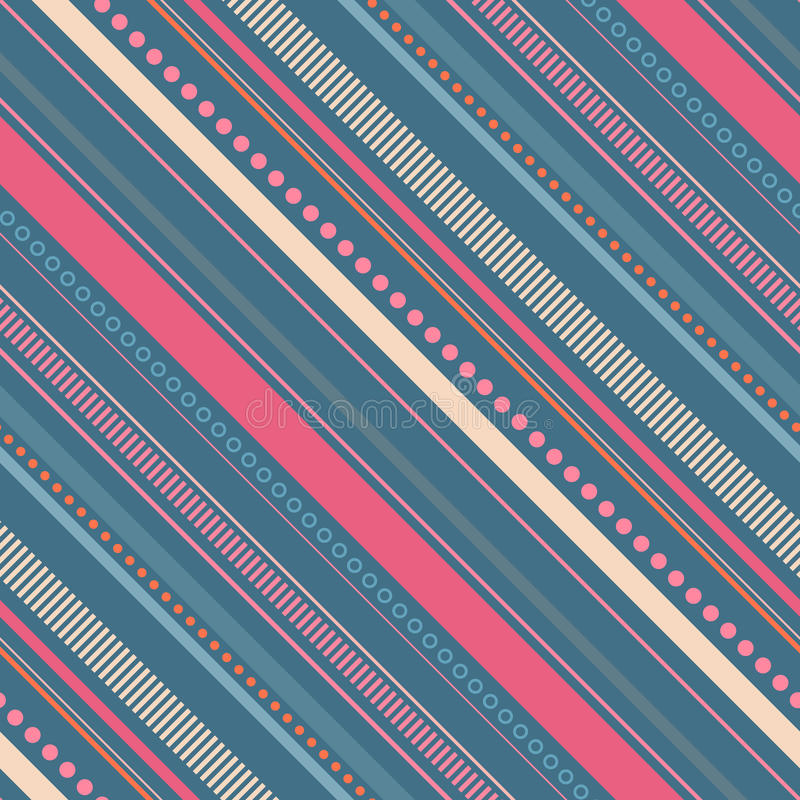 Modelo diagonal inconsútil con las rayas y los puntos ilustración del vector