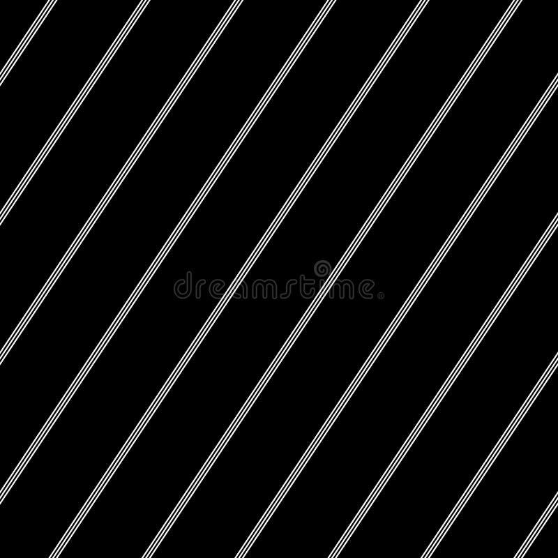 Modelo diagonal inconsútil de la tela a rayas Líneas rayadas blancas textura en fondo negro libre illustration