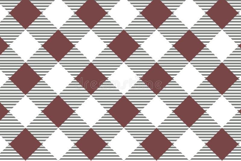 Modelo diagonal rojo de la guinga Textura del Rhombus/de los cuadrados para - la tela escocesa, manteles, ropa, camisas, vestidos ilustración del vector