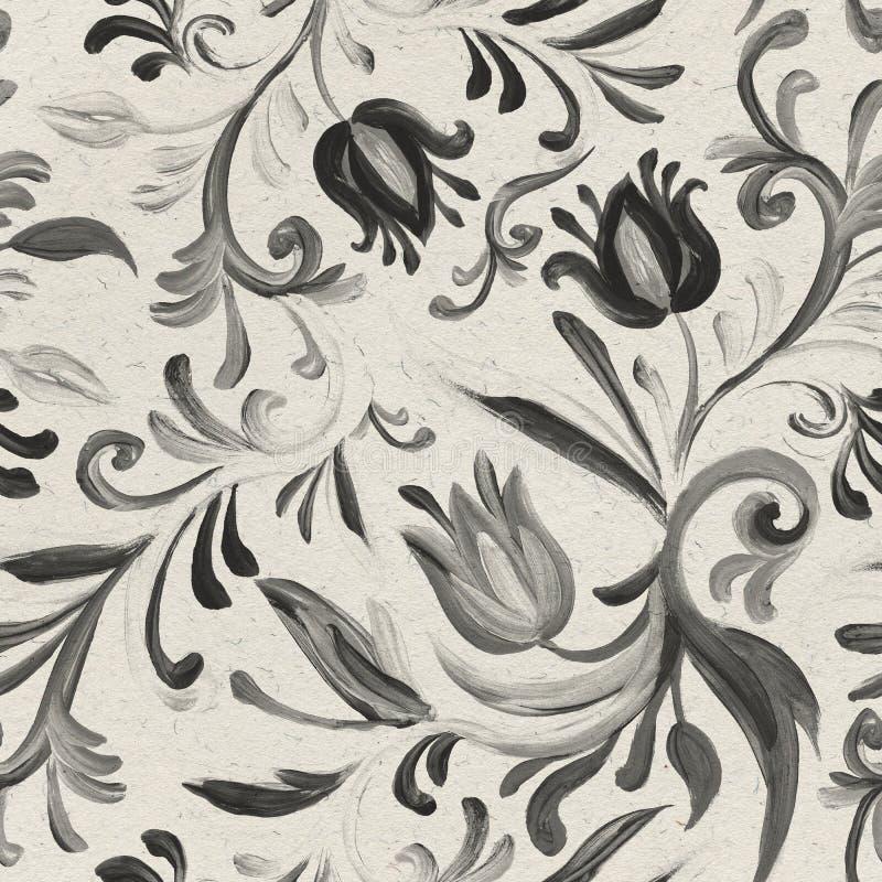Modelo dibujado mano botánica monocromática inconsútil fotografía de archivo libre de regalías