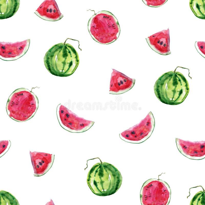 Modelo dibujado mano brillante inconsútil de la acuarela con el watermelo ilustración del vector