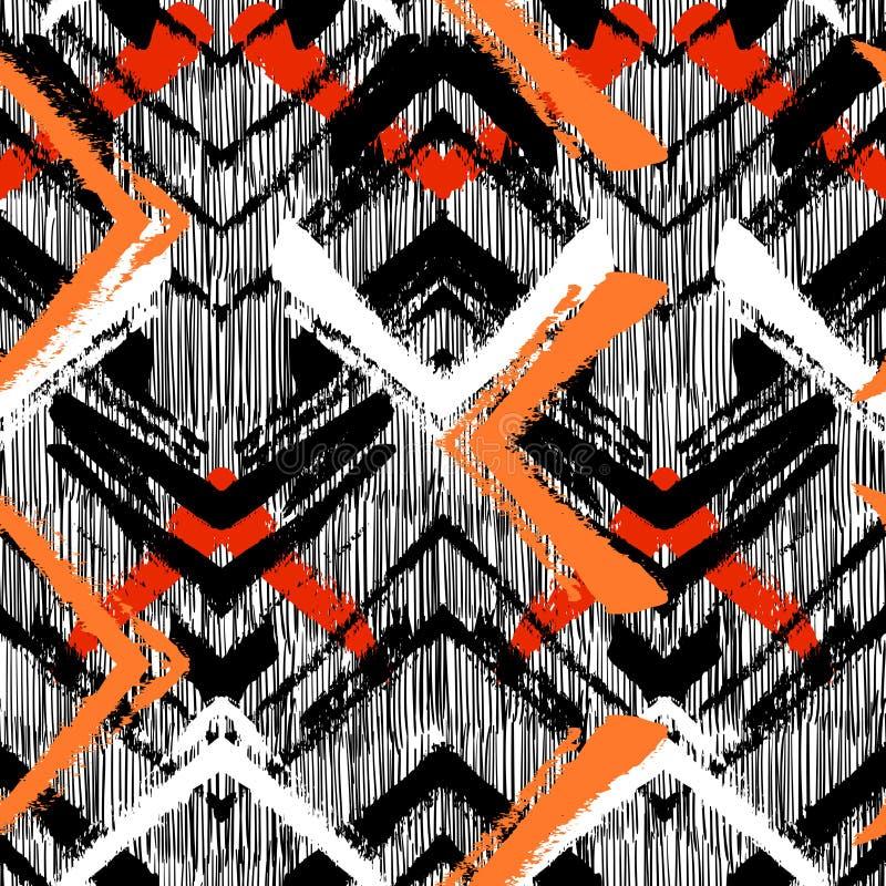 Modelo dibujado mano con la línea cepillada del zigzag. stock de ilustración