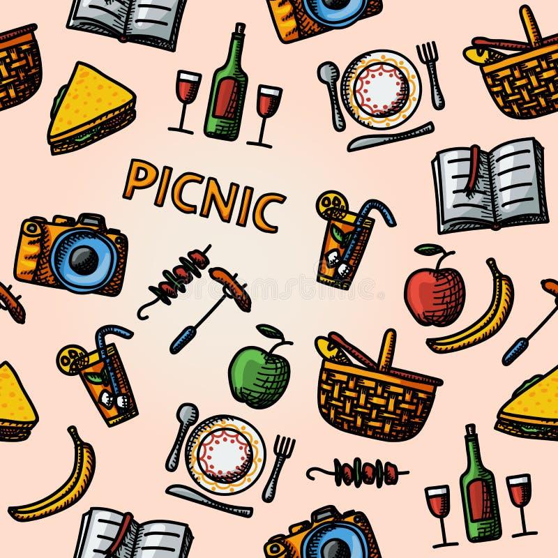 Modelo dibujado mano de la comida campestre del color Vector libre illustration