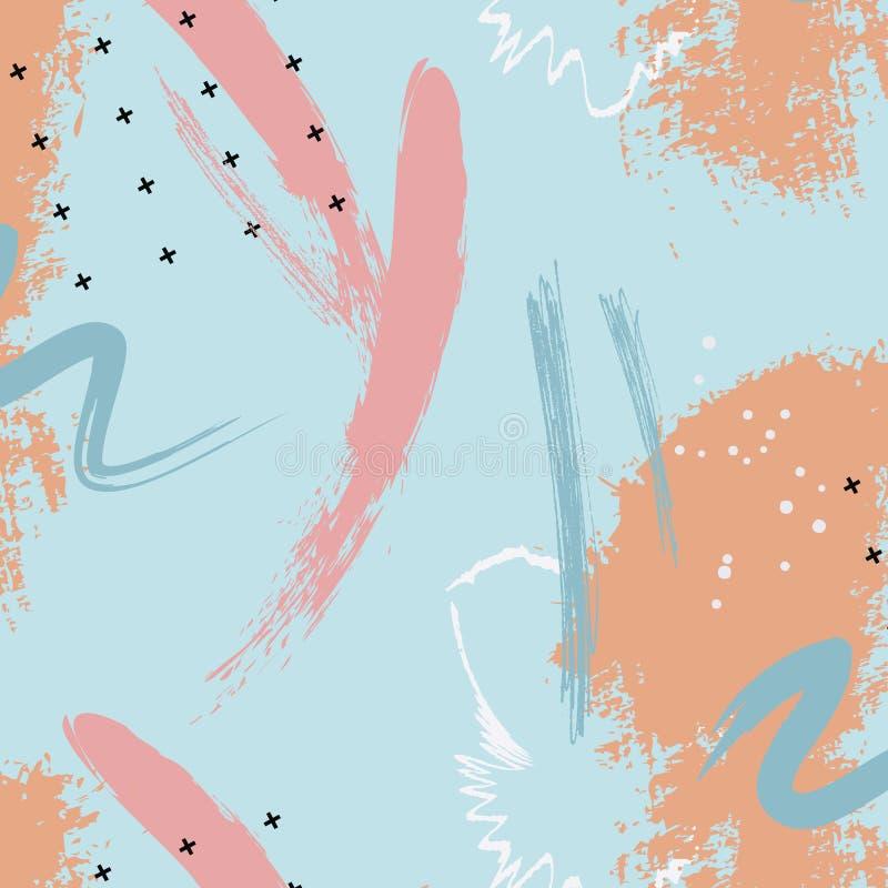 Modelo dibujado mano de los azules marinos de la pincelada Plantillas creativas de la marina de guerra violeta abstracta, tarjeta libre illustration
