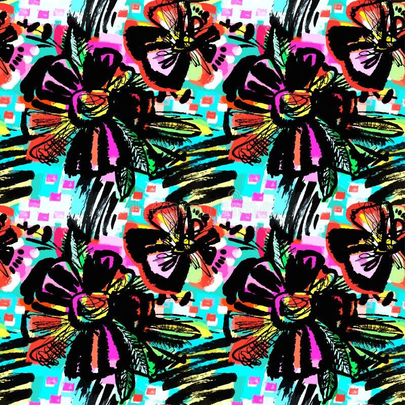 Modelo dibujado mano floral abstracta inconsútil de la tinta ilustración del vector