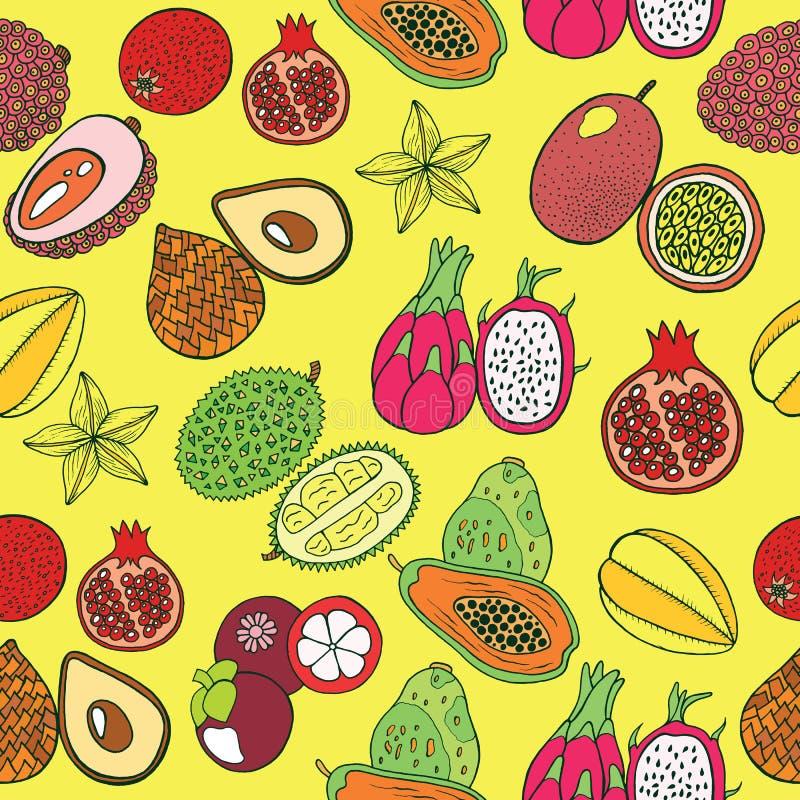 Modelo dibujado mano inconsútil con las frutas exóticas tropicales Vector libre illustration