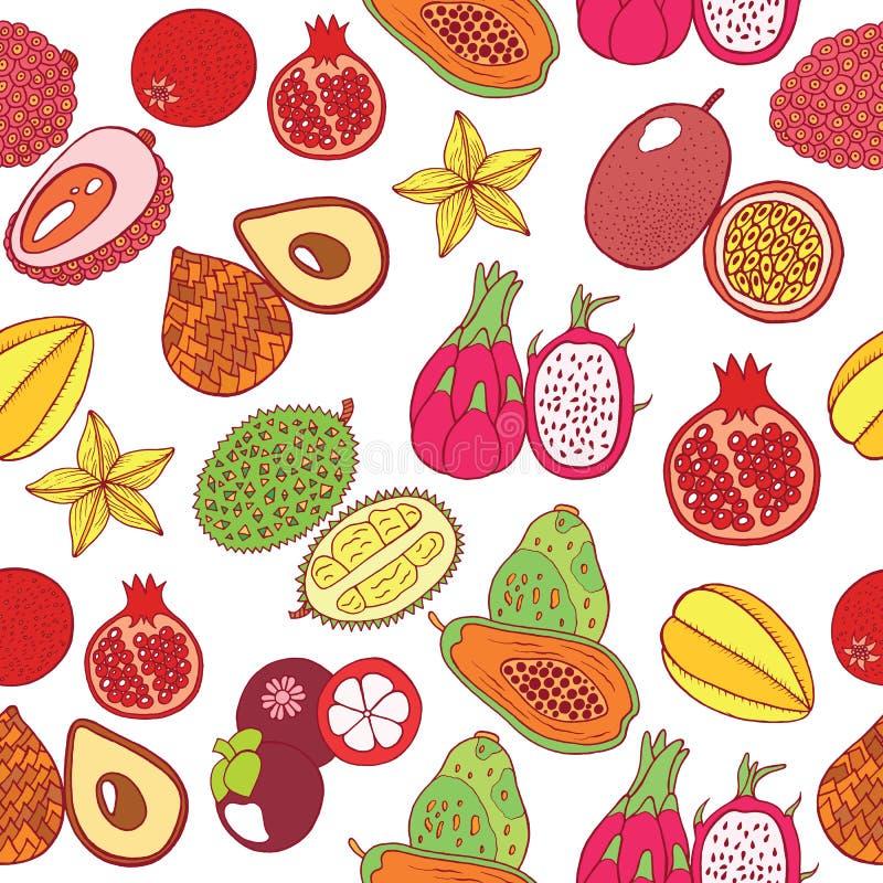 Modelo dibujado mano inconsútil con las frutas exóticas tropicales Vector ilustración del vector
