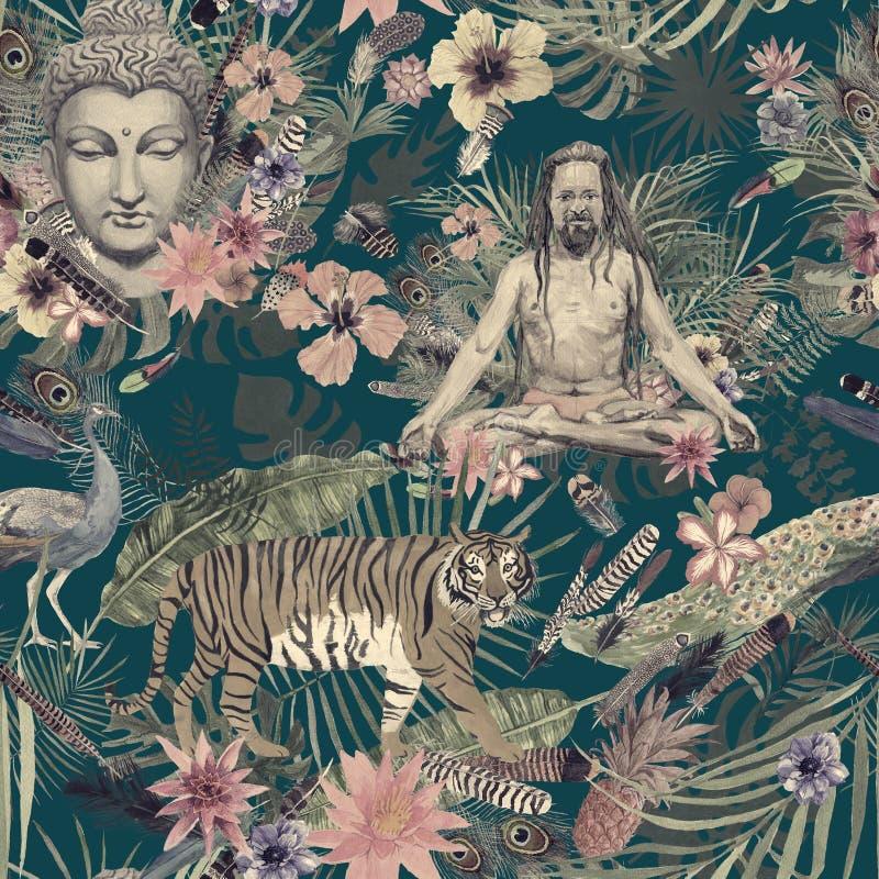 Modelo dibujado mano inconsútil de la acuarela con la cabeza de Buda, yogui, pavo real, plumas, flores, hojas libre illustration