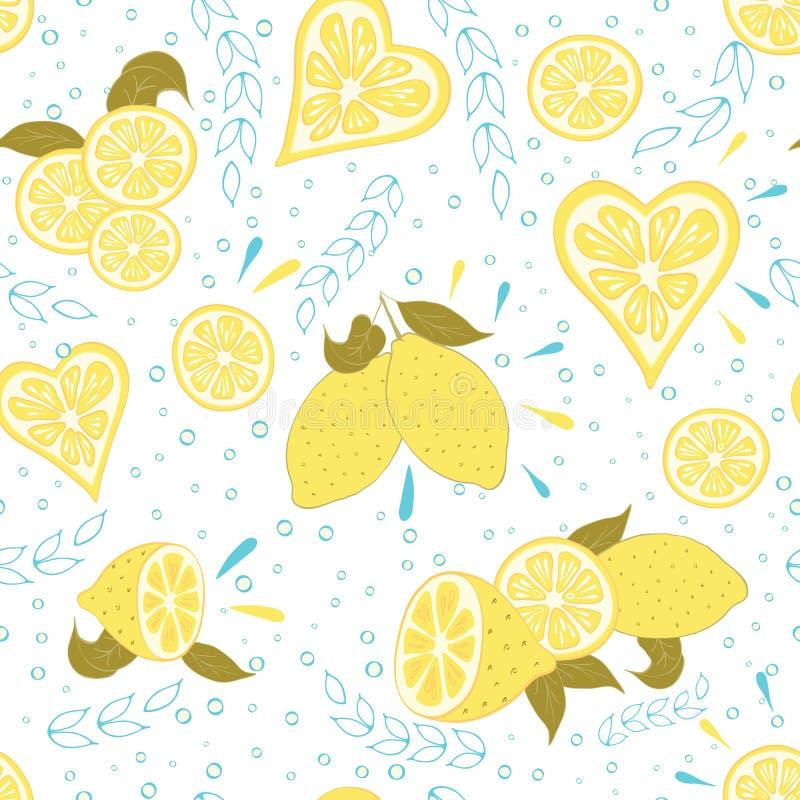 Modelo dibujado mano inconsútil de la fruta con el limón y las hojas amarillos frescos libre illustration