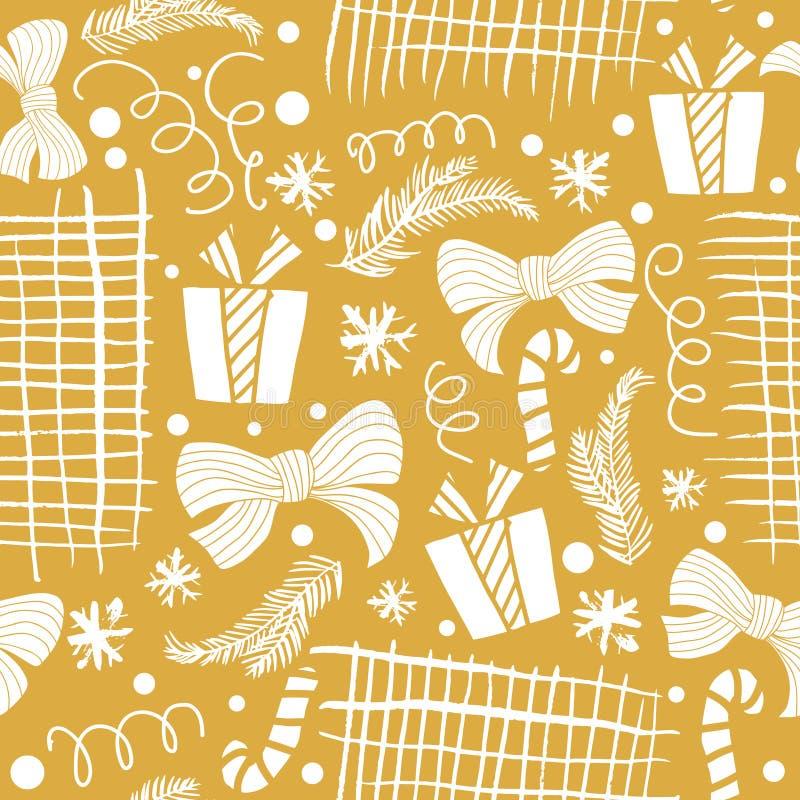 Modelo dibujado mano inconsútil del día de fiesta con el regalo, árboles de navidad Ilustración del vector libre illustration
