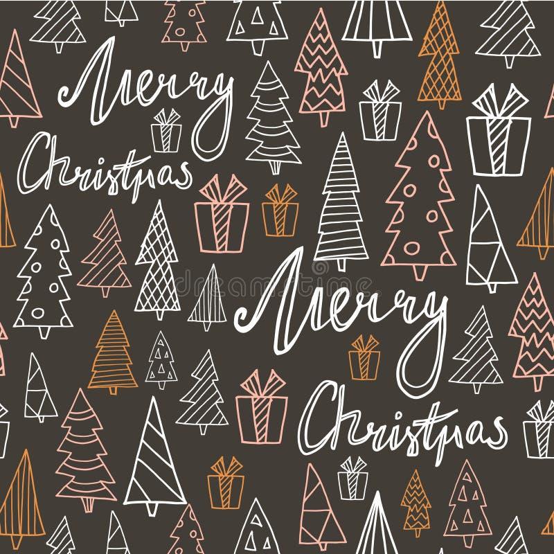 Modelo dibujado mano inconsútil del día de fiesta con el regalo, los árboles de navidad y la Feliz Navidad de la cita Ilustración stock de ilustración