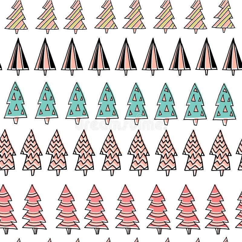 Modelo dibujado mano inconsútil del día de fiesta con los árboles de navidad coloridos en el fondo blanco Ilustración del vector libre illustration