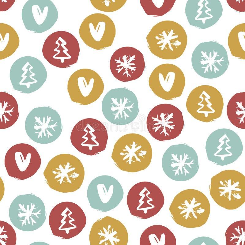 Modelo dibujado mano inconsútil del día de fiesta con los copos de nieve, corazones, árboles de navidad Ilustración del vector libre illustration
