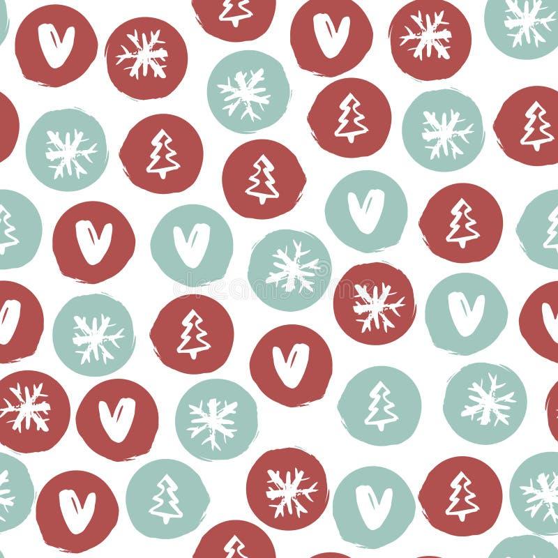 Modelo dibujado mano inconsútil del día de fiesta con los copos de nieve, corazones, árboles de navidad Ilustración del vector stock de ilustración