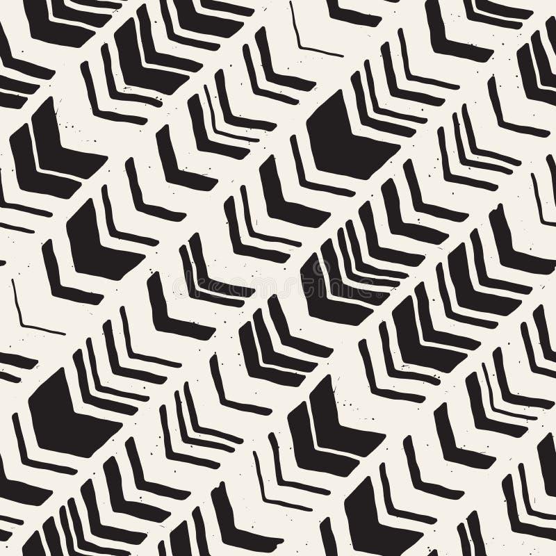 Modelo dibujado mano inconsútil del galón del estilo en blanco y negro abstraiga el fondo ilustración del vector