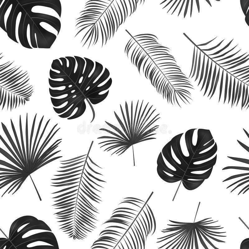 Modelo dibujado mano inconsútil del vector con las hojas de palma verdes en wh ilustración del vector