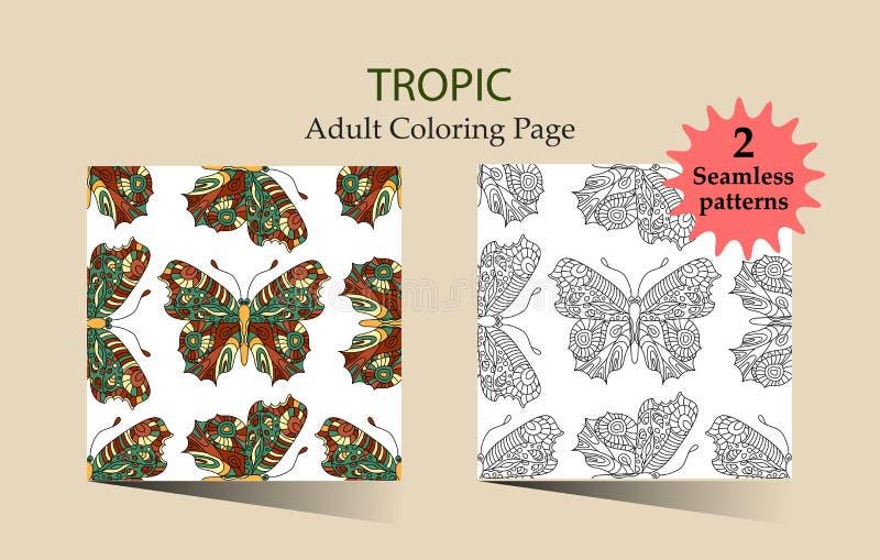 Modelo dibujado mano inconsútil del vector con las mariposas de la fantasía en estilo moderno stock de ilustración