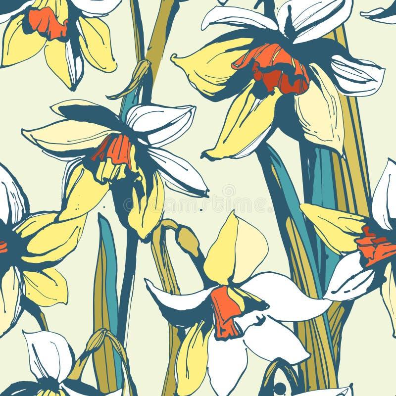Modelo dibujado mano inconsútil floral del narciso de la flor Tinta coloreada libre illustration