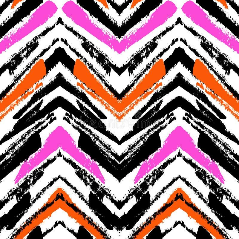 Modelo dibujado mano multicolora con las líneas del zigzag ilustración del vector