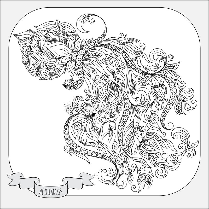 Modelo dibujado mano para el acuario del zodiaco del libro de colorear libre illustration