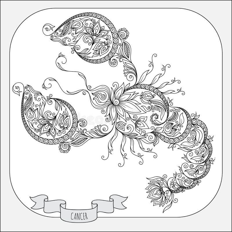 Modelo dibujado mano para el cáncer del zodiaco del libro de colorear ilustración del vector