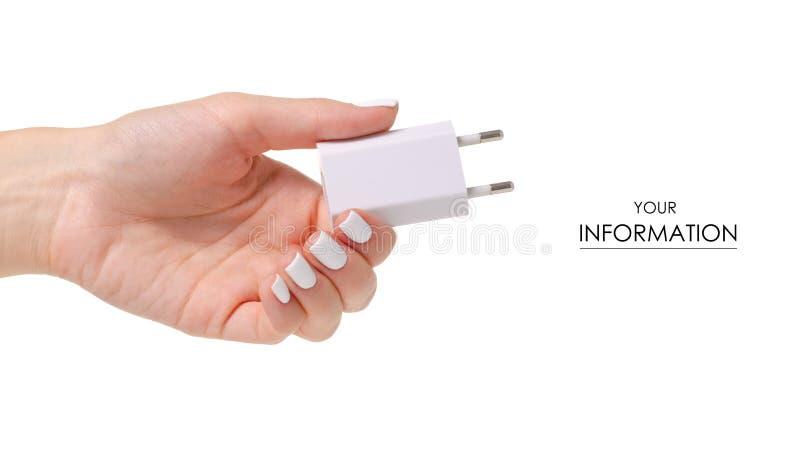 Modelo disponible blanco de la fuente de alimentación del teléfono imagen de archivo