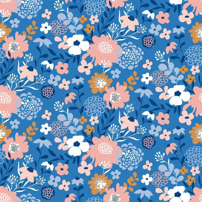 Modelo ditsy floral inconsútil de moda Diseño de la tela con las flores simples Fondo inconsútil del vector stock de ilustración