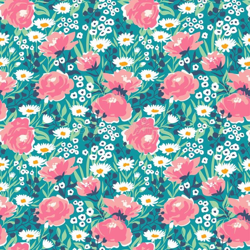 Modelo ditsy floral inconsútil del vector de moda Diseño de la tela con las flores simples ilustración del vector