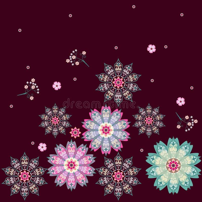 Modelo ditsy hermoso con las mandalas coloridas - copos de nieve y pequeñas flores aislados en fondo marrón oscuro en vector stock de ilustración