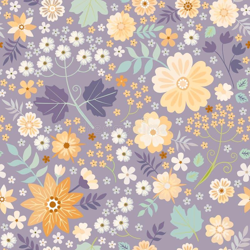 Modelo ditsy inconsútil con diversas flores hermosas Impresión decorativa del vector con el ornamento floral elegante stock de ilustración