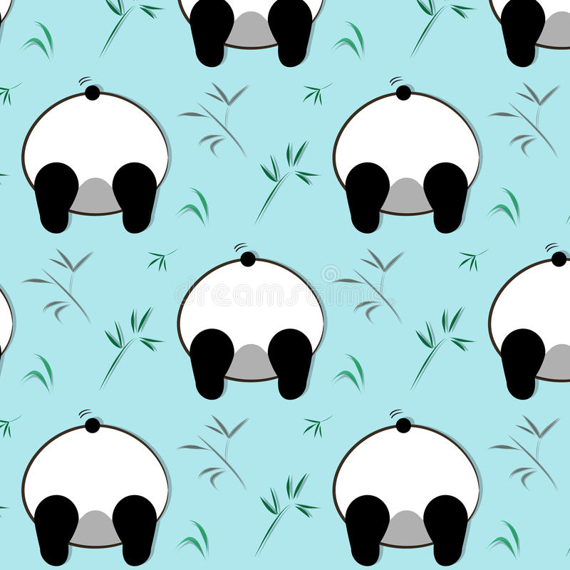 Modelo divertido de la panda del vector Ejemplo blanco de los niños de la historieta del oso negro Impresión salvaje animal Decor stock de ilustración