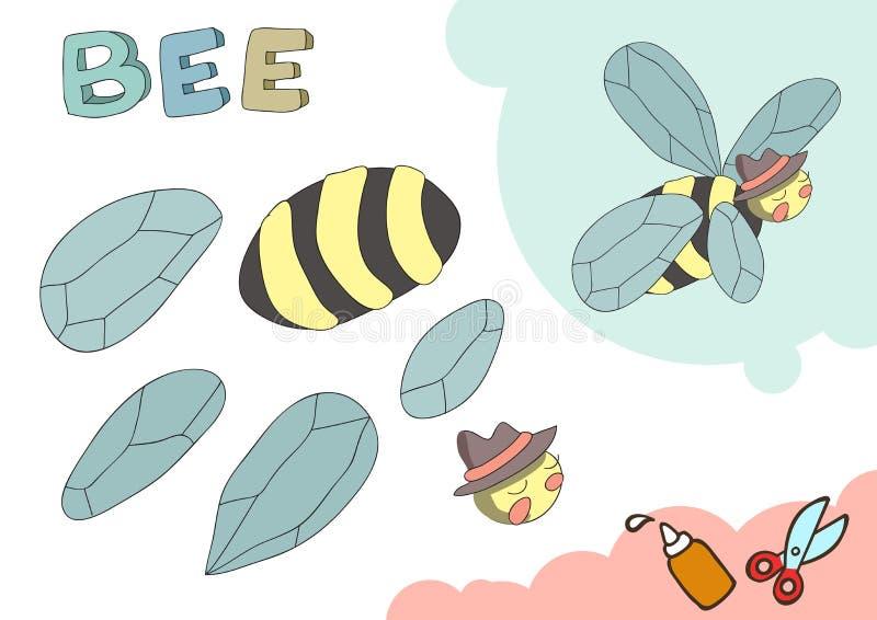 Modelo divertido del papel de la abeja Pequeño proyecto casero del arte, juego de papel de DIY Cortado y pegamento Recortes para  stock de ilustración