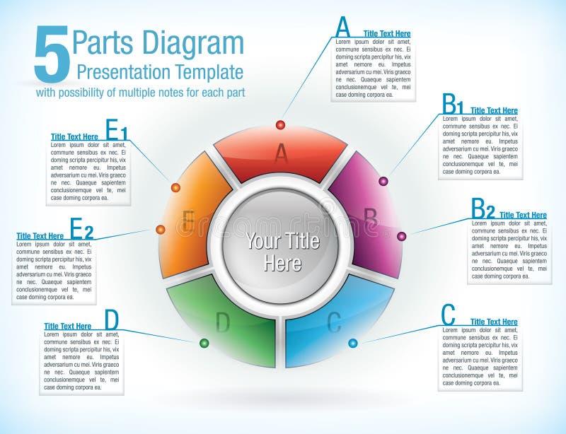 Modelo dividido en segmentos de la rueda para las presentaciones stock de ilustración
