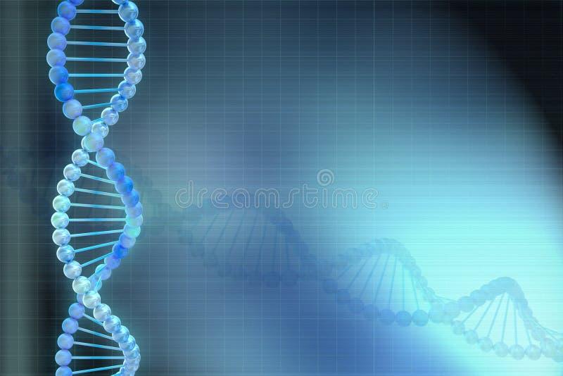 modelo do ADN 3d no fundo azul ilustração stock