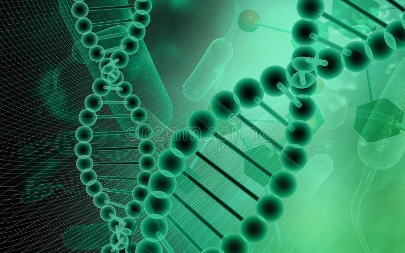 Modelo do ADN no fundo verde ilustração stock