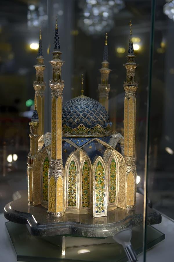 Modelo do bandmade da escala do interior de Kul Sharif Mosque de Kul Sharif Mosque na cidade de Kazan Jama Masjid principal na re imagem de stock