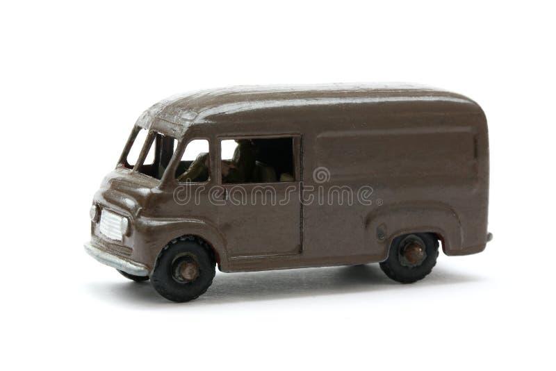 Modelo do brinquedo da entrega clássica Van de Brown foto de stock