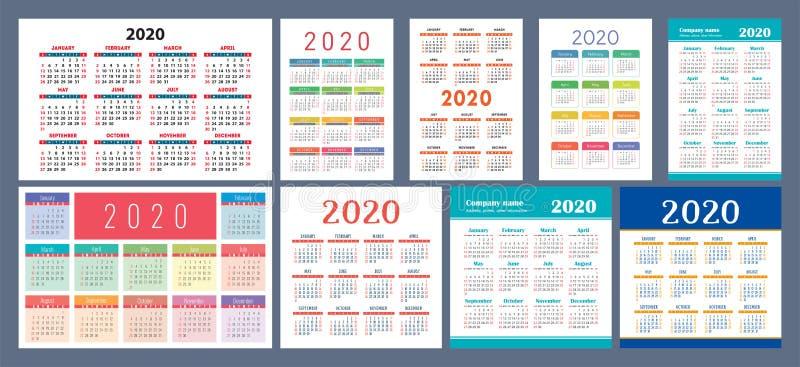 modelo do Calendário 2020 Conjunto de design do Calender Esquema quadrado vetorial, horizontal e vertical Colorida coleção de Ing ilustração stock