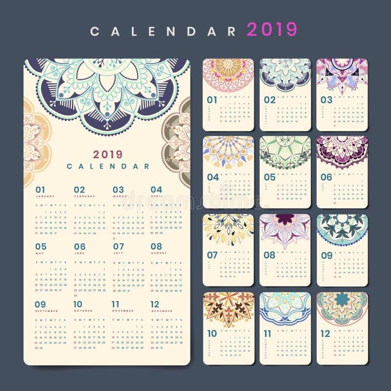 Modelo do calendário da mandala ilustração stock