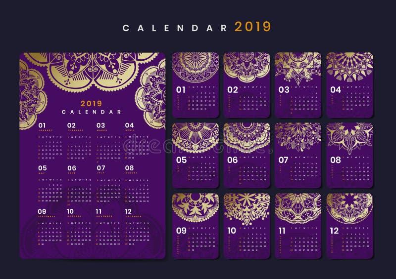 Modelo do calendário da mandala ilustração do vetor
