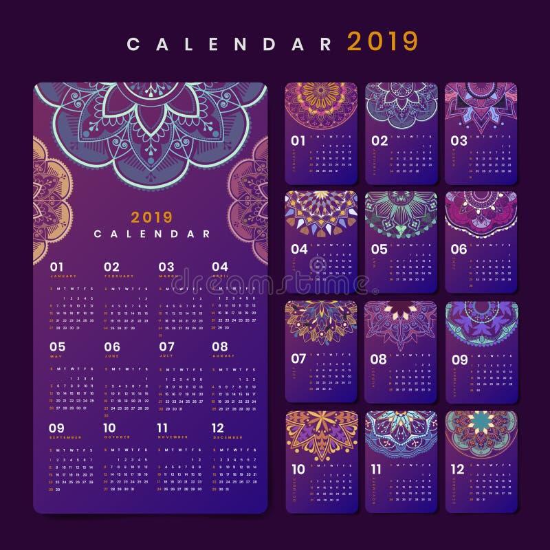 Modelo do calendário da mandala ilustração royalty free