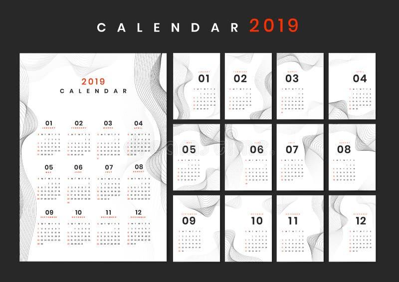 Modelo do calendário do projeto do contorno ilustração stock