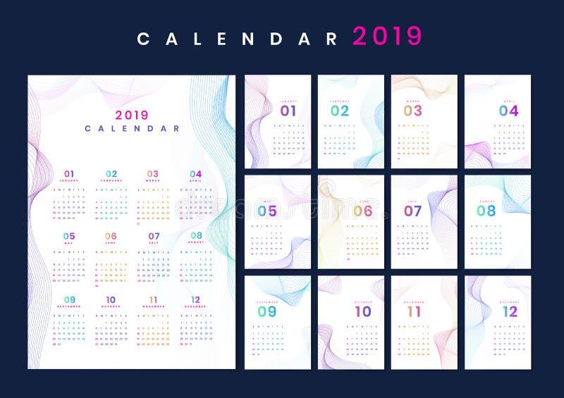 Modelo do calendário do projeto do contorno ilustração do vetor
