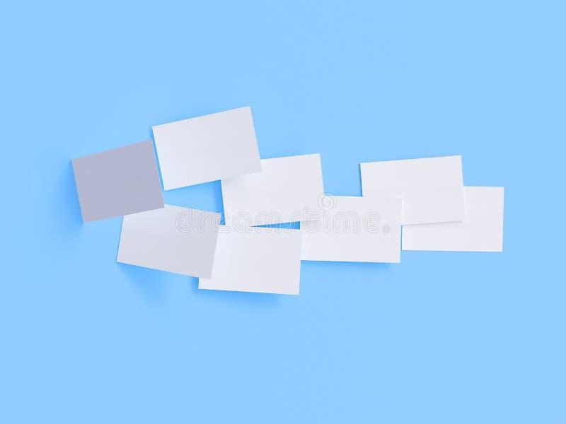 Modelo do cartão, 3d rendição, fundo azul ilustração do vetor