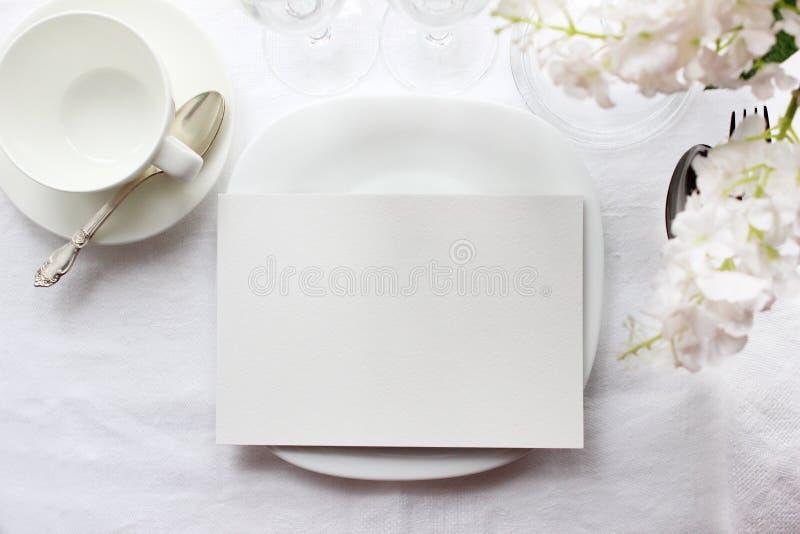Modelo do cartão da tabela, modelo do menu Fotografia da forma do casamento imagens de stock royalty free