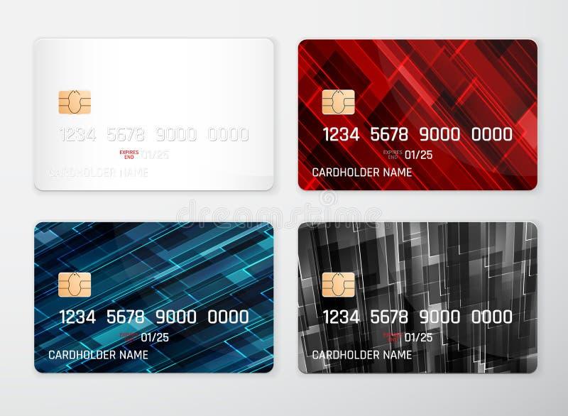 Modelo do cartão de crédito Fundo detalhado realístico do projeto do sumário do grupo de cartões do crédito Molde dianteiro Dinhe ilustração stock